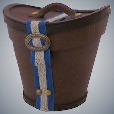 Miniature Gentleman's Leather Hat Box with French Blue Trim