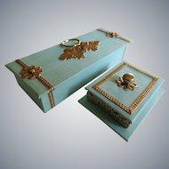 "Miniature Glove Box and Jewelry Casket in ""Huret Green"""