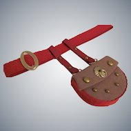 Miniature Chatelaine Style Hip Purse with Red Trim