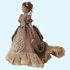 Lovely Victorian Dollhouse Doll in Silk Ball Gown