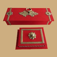 Miniature Glove Box and Jewelry Casket in Red and Gold