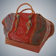 Miniature Carpet Bag Made From Antique Kashmir Fabric