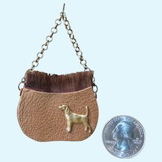 Tiny Leather and Silk Purse for your French Fashion Doll