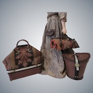 Four Piece Travel Suite: Leather Hat Box, Carriage Blanket, Valise, Chatelaine Purse