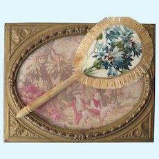 "Miniature 4"" Silk Fan with Antique Bone Handle"