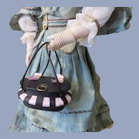 Exquisite Miniature Leather and Silk Sewing Basket