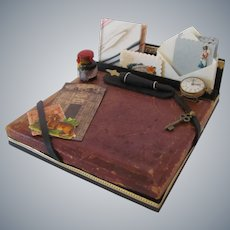 Gents Desk Set with Miniature Watch, Book, Stationery, Bottle of Ink