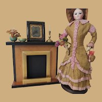 Fashion Doll Scale Wood Fireplace