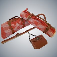 Day Trip Summer Picnic Set: Blanket, Chatelaine Purse and Duffle Bag