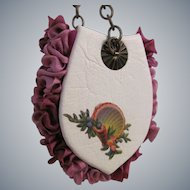 Miniature Evening Bag Purse of Silk and Leather for Fashion Doll
