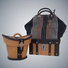 Gentleman's Travel Set Sac du Voyage and Leather Hat Box