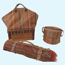 Beautiful Three Piece Travel Set: Sac du Voyage, Hat Box and Carriage Blanket