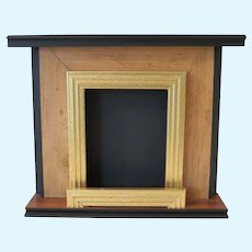 """10"""" High Wood Fireplace for Antique Doll or Bear Vignette"""