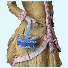 Tiny Ladies Hat Box with Antique Victorian Scrap