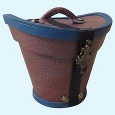 Miniature Antique Style Gentleman's Leather Hat Box