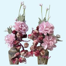 Pair of Floral Bouquets in Silvered Vases