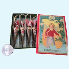 Miniature Victorian Style Christmas Candy Box with Ornaments