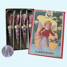 Miniature Victorian Style Candy Cones in Beautiful Christmas Box