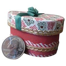 Beautiful Miniature Wrapped Christmas Hat Box