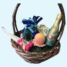 Miniature Holiday Basket of Good Cheer