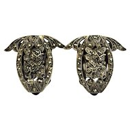 Rare Vintage Art Deco Jewelry LCW Sterling Silver Marcasite Roses Dress or Fur Clip Set