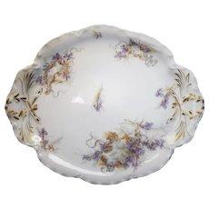"""Elegant Vintage Art Nouveau Haviland Limoges France Iris Flower Pattern 12"""" Platter"""
