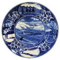 Vintage Flow Blue Adam Staffordshire Souvenir Plate Winter Sports Sun Valley Idaho