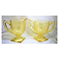 Vintage Indiana Glass Depression Horseshoe Pattern #612 Yellow Creamer & Sugar Bowl