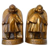 Antique Bronze Clad Arts & Craft Era LDB Co BLOCH Innocence Little Dutch Girl Bookends