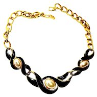 VINTAGE 1980's Designer Napier Black Enameled Gold Plated Faux Simulated Baroque Pearl Necklace