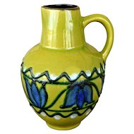 Beautiful Vintage German Mid Century Modern Strehla Fat Lava Era Jug Ewer Vase Tulip Green Blue