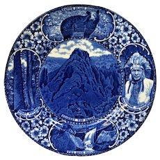 VINTAGE Blue Transferware Adams Smoky Mountain National Park Souvenir Plate Hanlon Knoxville Tennessee
