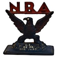 RARE Vintage Cast Iron Patriotic American Eagle FDR National Recovery Act Paperweight