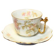 Dainty Vintage Art Nouveau Elite Limoges France Small Demitasse Pink Carnation Star Flower Cup & Saucer Set
