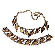 FABULOUS Vintage Hollywood Regency Era Amber Gold-tone LARGE Rhinestone Choker Necklace and Wide Bracelet Set