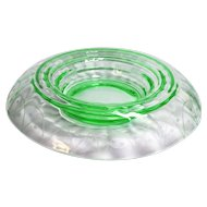 Large Vintage Art Deco Green Vaseline Glass Rolled Rim Console Bowl Needle Etched Design