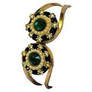 Showy VINTAGE Hollywood Regency Era Gold Tone Clamper Bracelet Green Crystal Rhinestone Faux Simulated Pearl