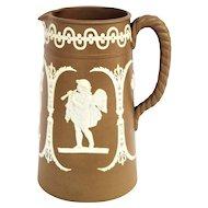 Vintage German Brown Jasperware Cameo Cherub Greek Figures Tankard Pitcher
