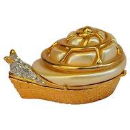 Elegant Vintage Limited Edition Kenneth Jay Lane KJL Critters Combination Snail Pin Snuff Pill Box Brooch