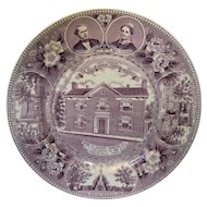 BEAUTIFUL Vintage Mulberry Purple Staffordshire Souvenir Plate Andrew Johnson Home Tennessee