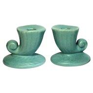 Vintage Pair of Matte Blue USA Shawnee Art Pottery Cornucopia Candle Holder Set
