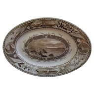 "Antique Late 1800's Staffordshire Turner Phileau Ship Pattern 16"" Platter in Brown Transferware"