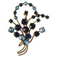 Elegant-Vintage-1930s Austrian-Blue-AB-amp-Dark-Blue-Rhinestone-Pin-Brooch