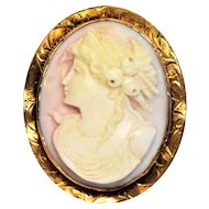 Antique High Relief Carved 10k Gold Pink Angel Skin Shell Rose Cameo Combination Brooch Pin Pendant
