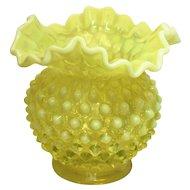Vintage Fenton Opalescent Vaseline Glass Topaz Hobnail Vase Bowl