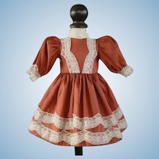 """Rust silk dress for 13"""" doll - Rosette Size"""