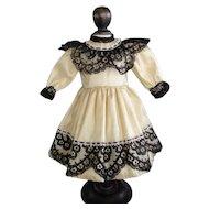 "Beige French silk dress for 13"" doll. Rosette Size"
