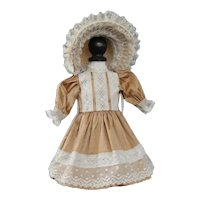 "Beige silk dress for 13"" doll - Rosette Size"