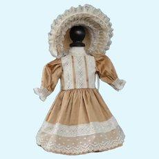 """Beige silk dress for 13"""" doll - Rosette Size"""