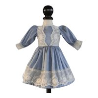 "Blue silk dress for 13"" doll - Rosette Size"